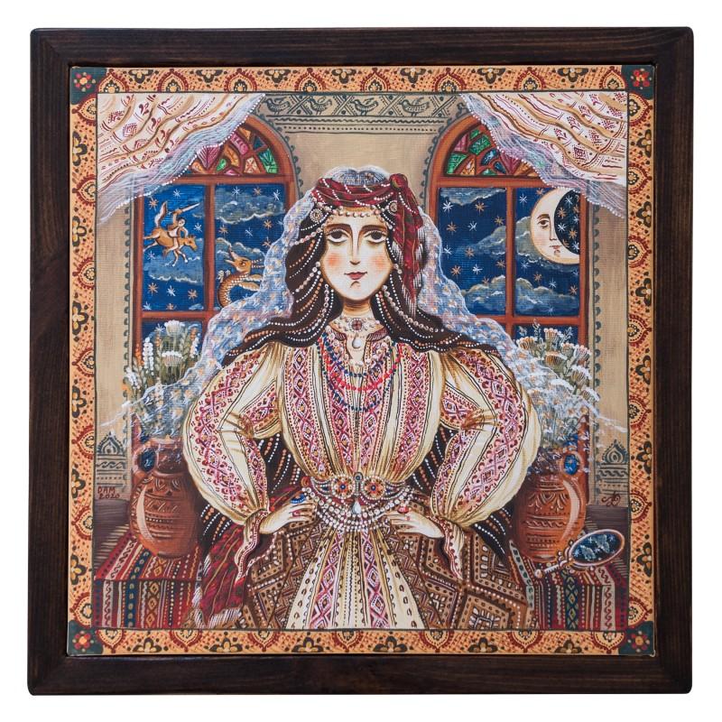 """Tablou pe pânză, """"Frumoasa Lumii. Zâna Zânelor."""", 30x30 cm, ramă lemn, pictat manual"""
