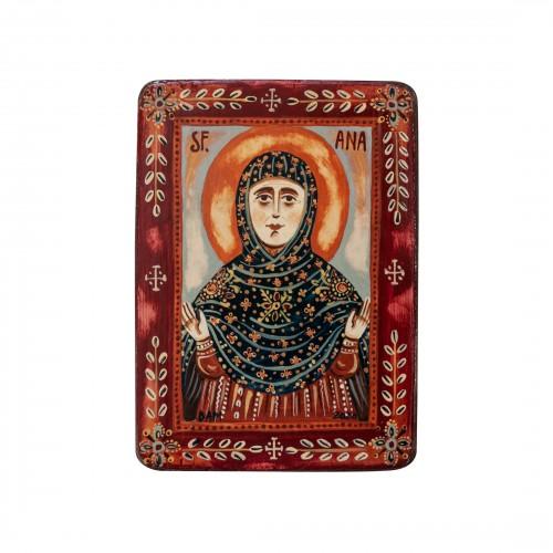 """Icoană pe lemn """"Sfânta Ana"""", miniatură, 7x10 cm"""