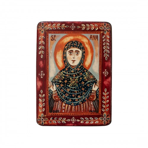 "Wood icon, ""Saint Anne"", miniature, 7x10cm"