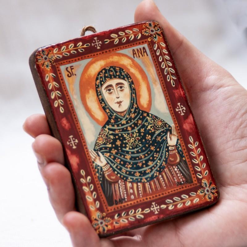 "Wood icon, ""Saint Anne"", miniature, 7x10cm"