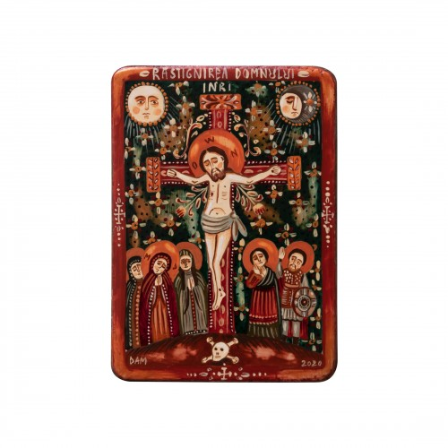 "Wood icon, ""The Crucifixion"", miniature, 7x10cm"