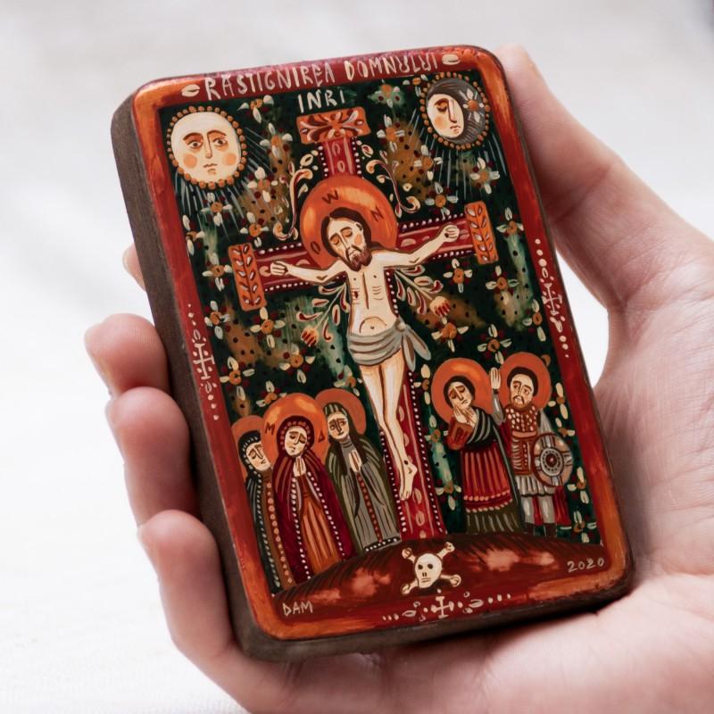 """Icoană pe lemn """"Răstignirea"""", miniatură, 7x10 cm"""