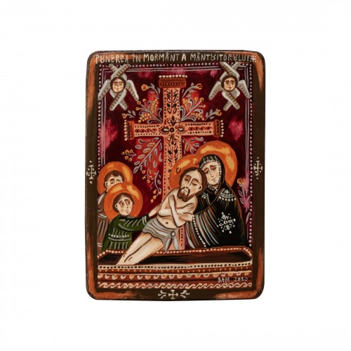 """Wood icon, """"The Entombment of Christ"""", miniature, 7x10cm"""