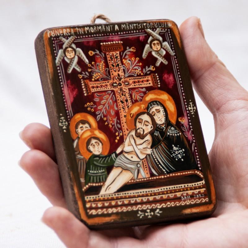 """Icoană pe lemn """"Punerea în mormânt"""", miniatură, 7x10 cm"""