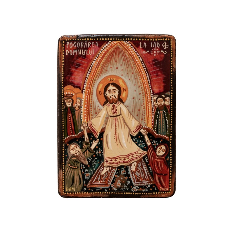 "Wood icon, ""The descent of Christ into Hell"", miniature, 7x10cm"