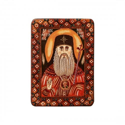 """Icoană pe lemn """"Sfântul Nectarie"""", miniatură, 7x10 cm"""
