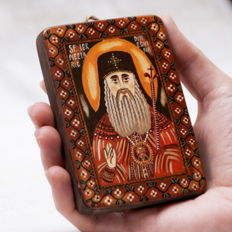 "Wood icon, ""Saint Nectarios of Aegina"", miniature, 7x10cm"