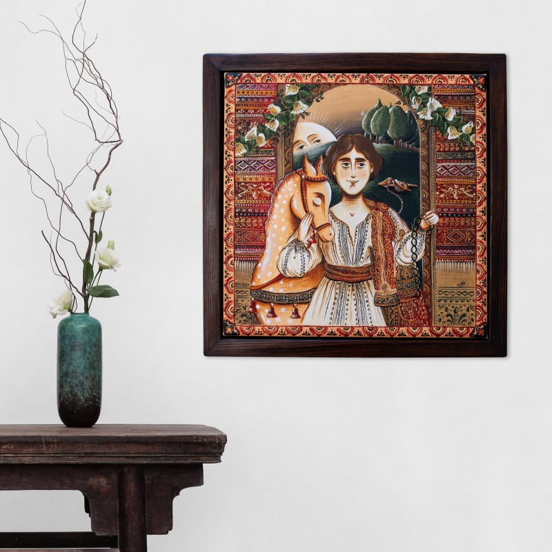"""Canvas painting, """"Prince Charming"""", 30x30 cm, wooden frame, manually painted"""