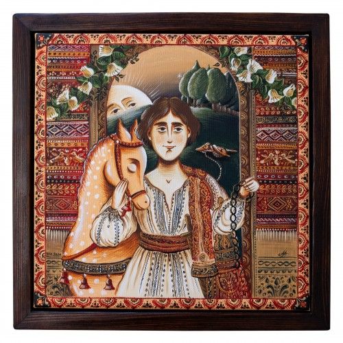 "Canvas painting, ""Prince Charming"", 30x30 cm, wooden frame"