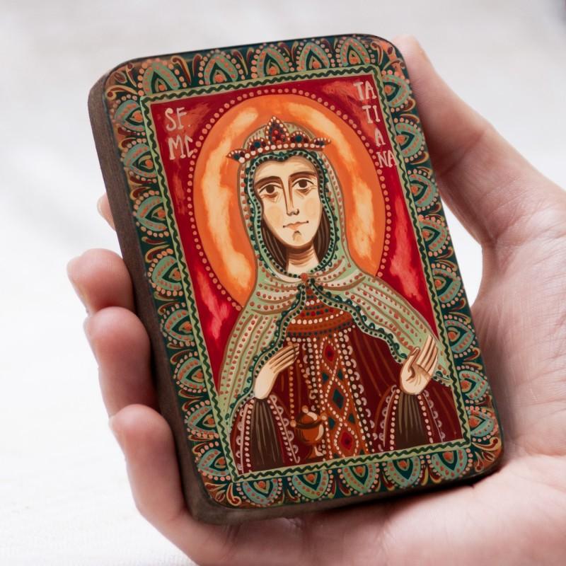 "Wood icon, ""Saint Tatiana"", miniature, 7x10cm"