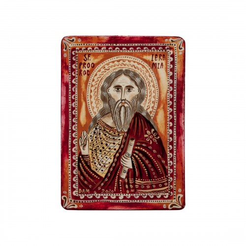 "Wood icon, ""Saint Jeremiah"", miniature, 7x10cm"