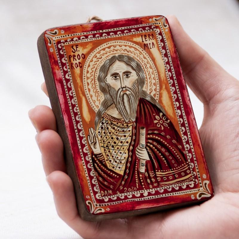 """Icoană pe lemn """"Sfântul Proroc Ieremia"""", miniatură, 7x10 cm"""