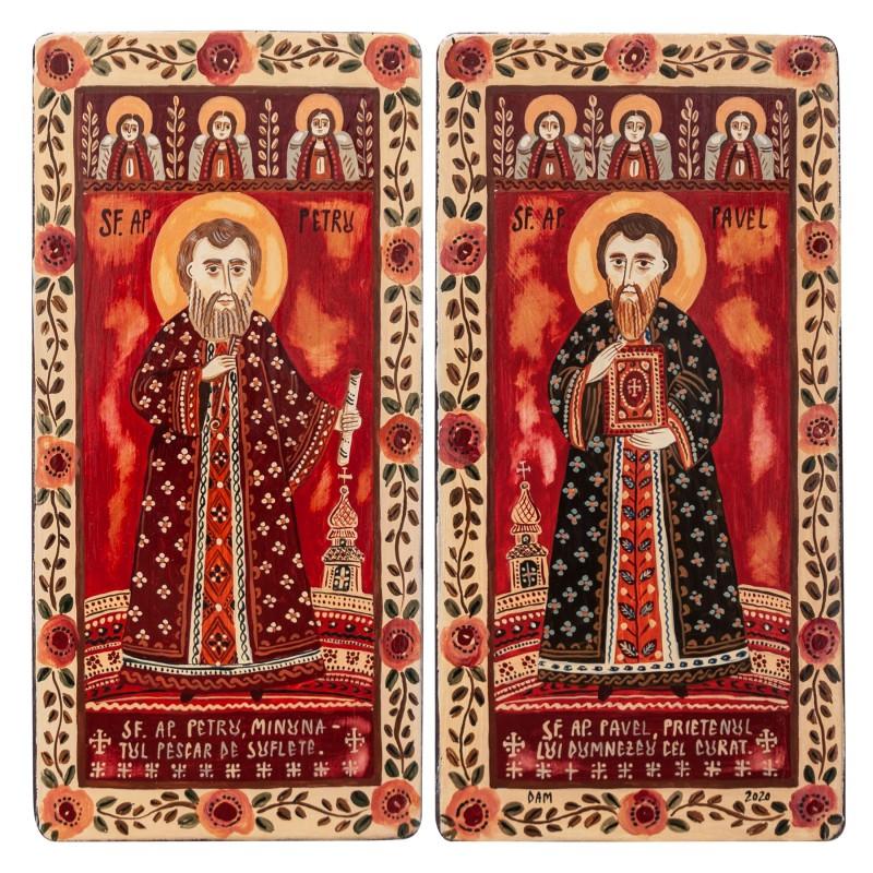 """Icoană pe lemn tip diptic """"Sf. Petru si Pavel"""", 2 x 10x20cm"""
