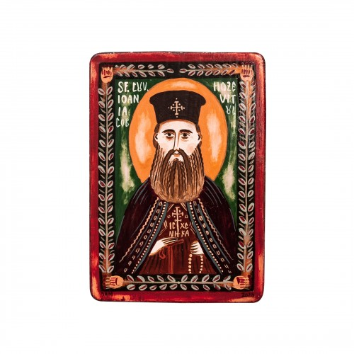 "Wood icon, ""Saint John James the Chozebite"", miniature, 7x10cm"