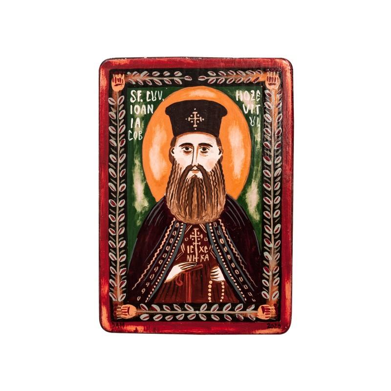 """Icoană pe lemn """"Ioan Iacob Hozevitul"""", miniatură, 7x10 cm"""