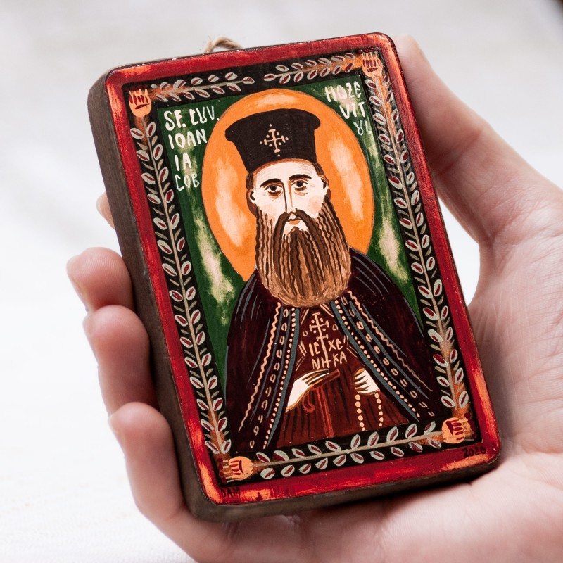 "Wood icon, ""Saint John James the Chozebite"", miniature, 7x10cm"