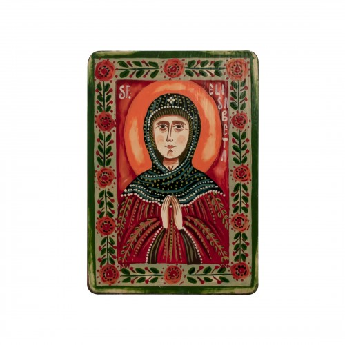 "Wood icon, ""Saint Elizabeth"", miniature, 7x10cm"