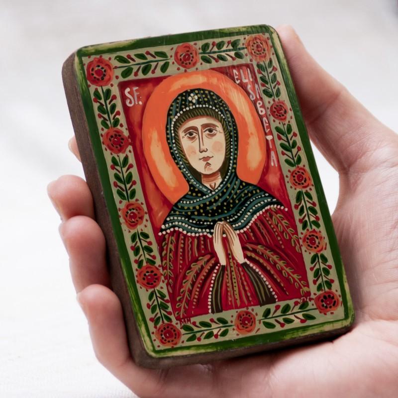 """Icoană pe lemn """"Sfânta Elisabeta"""", miniatură, 7x10 cm"""
