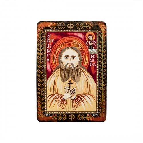 """Icoană pe lemn """"Sf. Serafim de Sarov"""", miniatură, 7x10 cm"""
