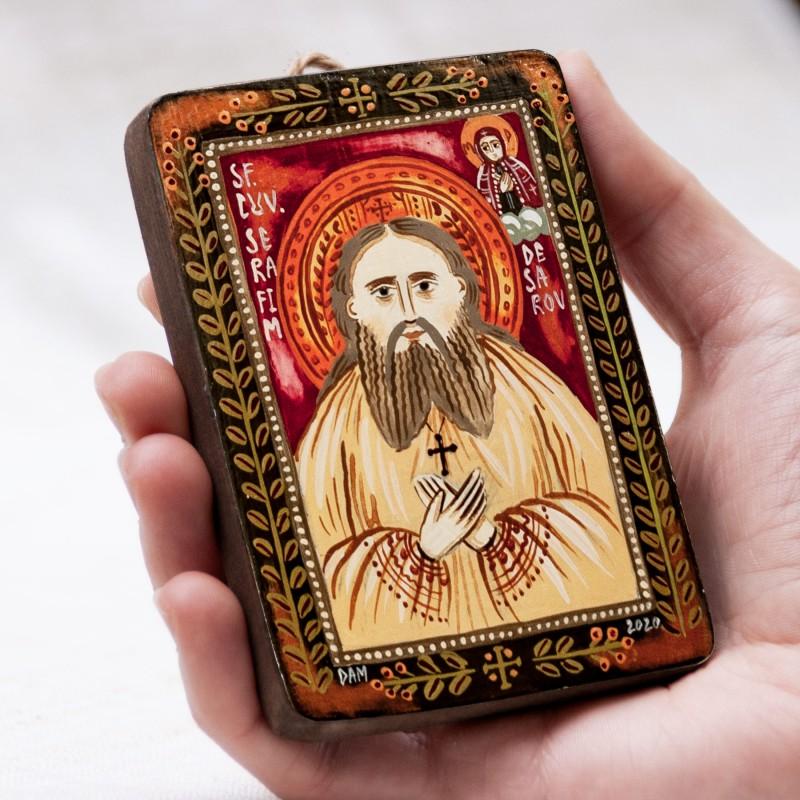"Wood icon, ""Saint Seraphim of Sarov"", miniature, 7x10cm"