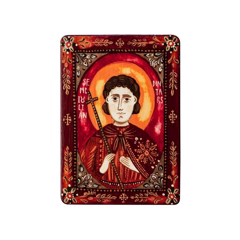 """Icoană pe lemn """"Sf. Mc. Iulian din Tars"""", miniatură, 7x10 cm"""