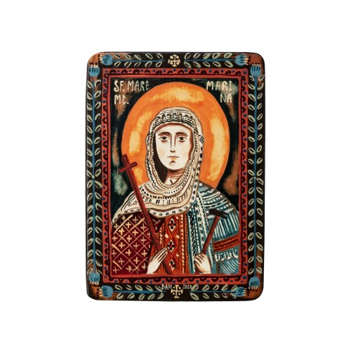 "Wood icon, ""Saint Marina (Margaret)"", miniature, 7x10cm"