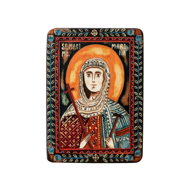 "Wood icon, ""Saint Marina (Margaret)"", miniature, 7x10cm"