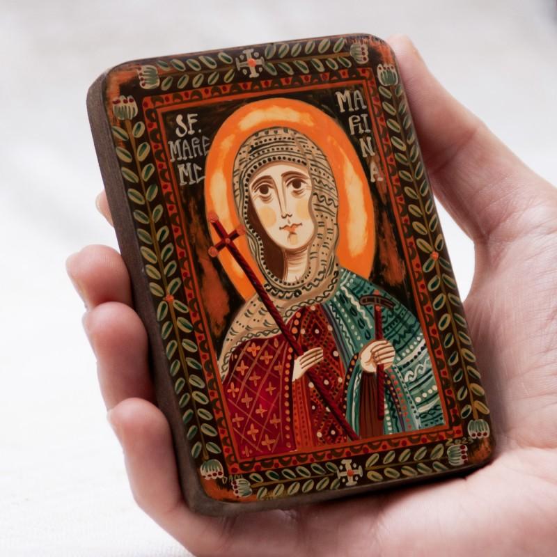 """Icoană pe lemn """"Sfânta Marina"""", miniatură, 7x10 cm"""