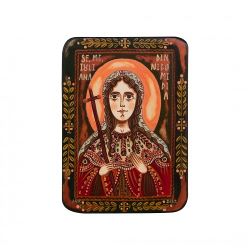 "Wood icon, ""Juliana of Nicomedia"", miniature, 7x10cm"