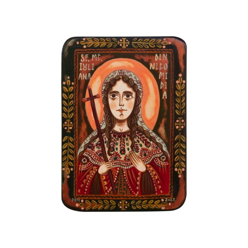 """Icoană pe lemn """"Sf. Mc. Iuliana din Nicomidia"""", miniatură, 7x10 cm"""