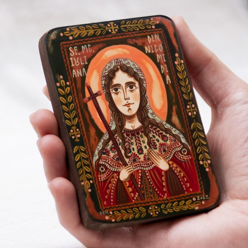 "Wood icon, ""Juliana of Nicomedia"", miniature, 7x10cm"