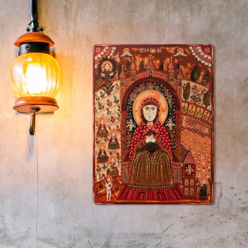 "Wood icon, ""Virgin Mary in Heaven"""