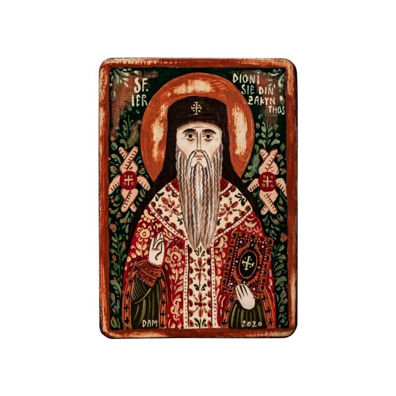 """Icoană pe lemn """"Sf. Dionisie din Zakynthos"""", miniatură, 7x10 cm"""