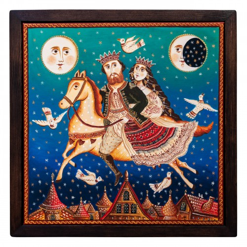 """Canvas painting, """"Fly me to the Moon"""", 40x40 cm, wooden frame, manually painted"""