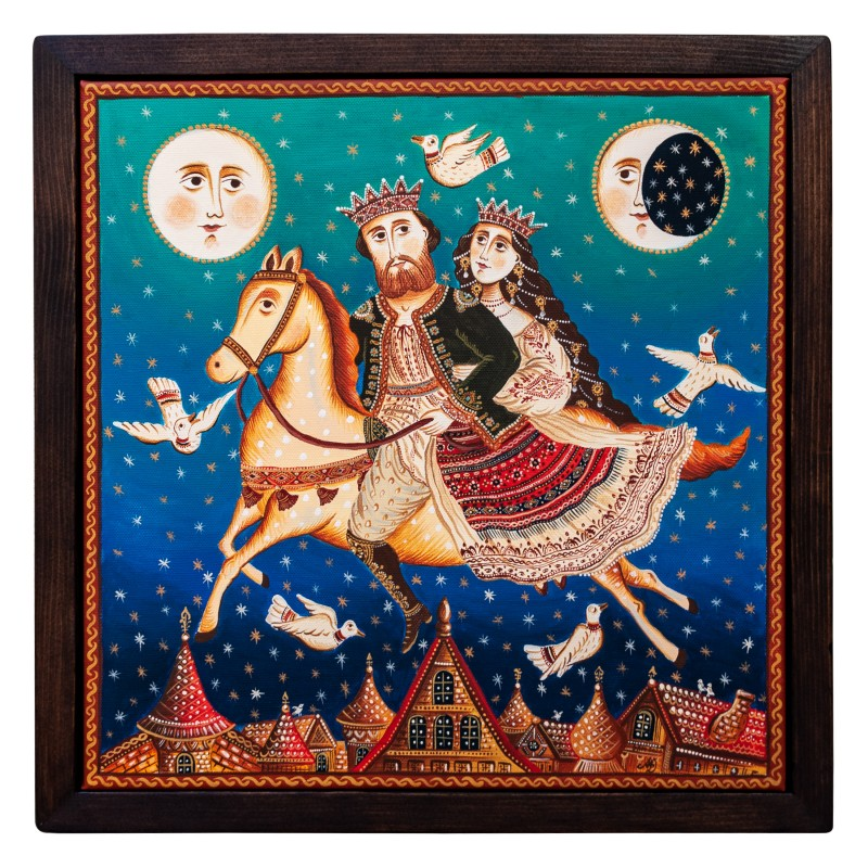 "Canvas painting, ""Fly me to the Moon"", 40x40 cm, wooden frame"
