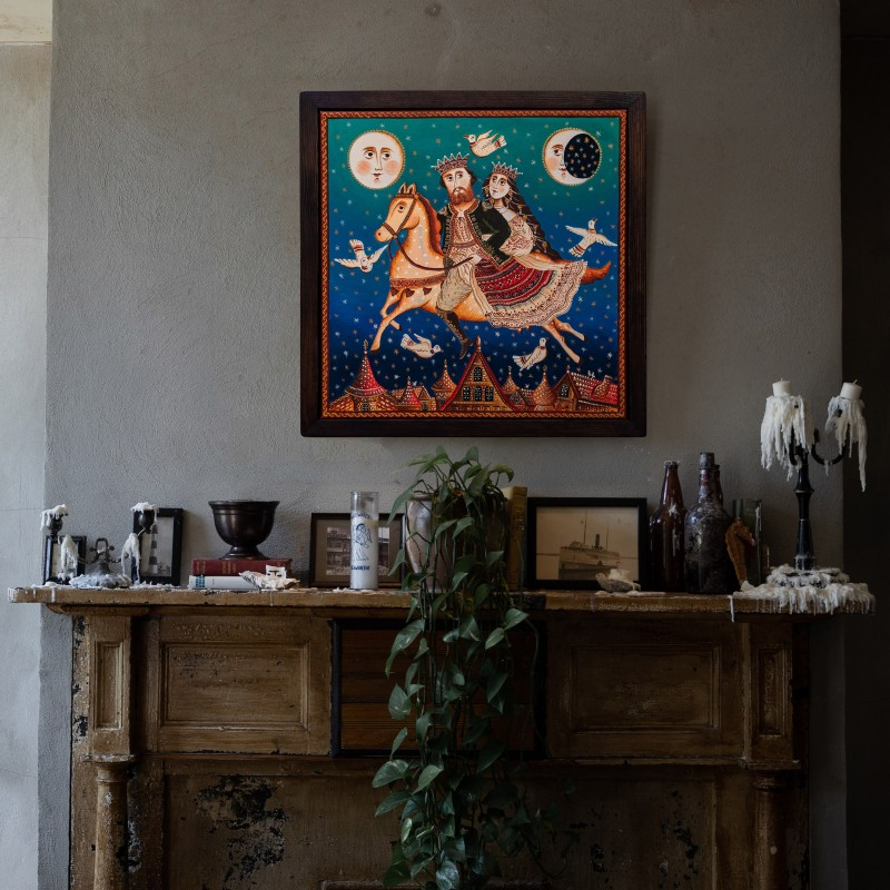 """Tablou pe pânză """"Zborul"""", 40x40 cm, ramă lemn, pictat manual"""