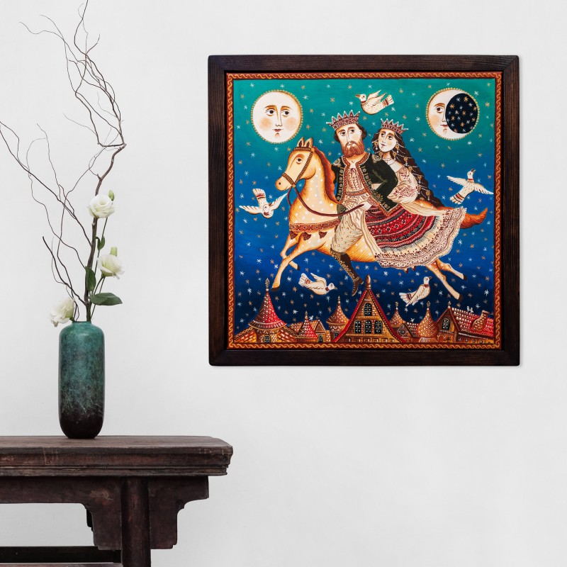 """Canvas painting, """"Fly me to the Moon"""", 40x40 cm, wooden frame"""