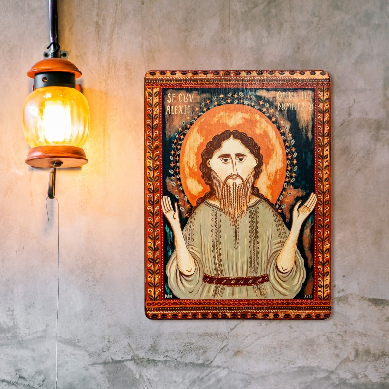 "Wood icon, ""Saint Alexios the Man of God"""