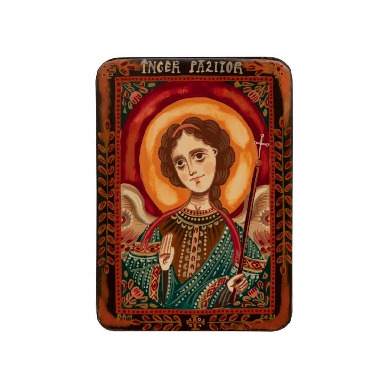 "Wood icon, ""Guardian Angel"", miniature, 7x10cm"