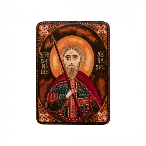 """Icoană pe lemn """"Sf. Mc. Corneliu Sutașul"""", miniatură, 7x10 cm"""
