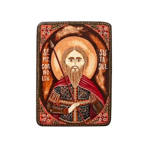 "Wood icon, ""Saint Cornelius the Centurion"", miniature, 7x10cm"