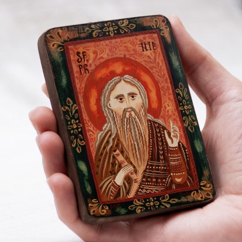 """Icoană pe lemn """"Sf. Proroc Ilie Tesviteanul"""", miniatură, 7x10 cm"""