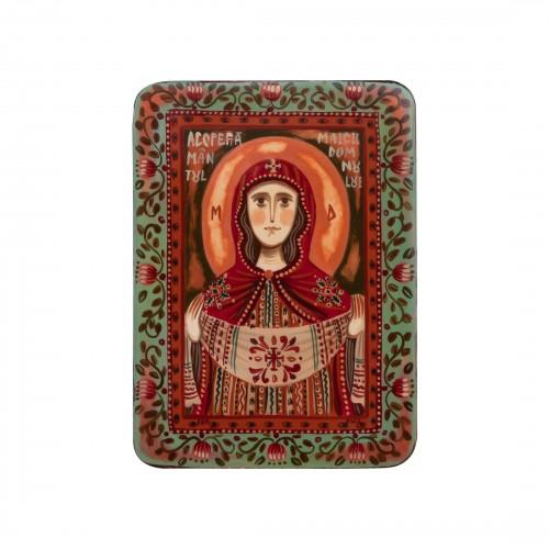 """Icoană pe lemn """"Maica Domnului cu Sfântul Acoperământ"""", miniatură, 7x10 cm"""
