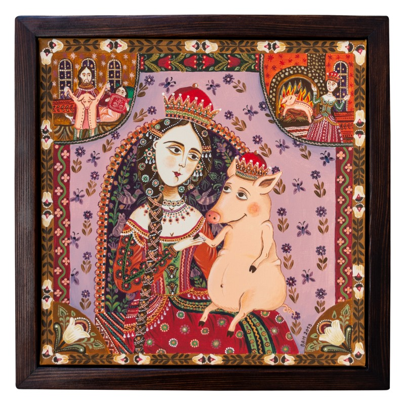 """Canvas painting, """"A Pig's Tale"""", 30x30 cm, wooden frame, manually painted"""