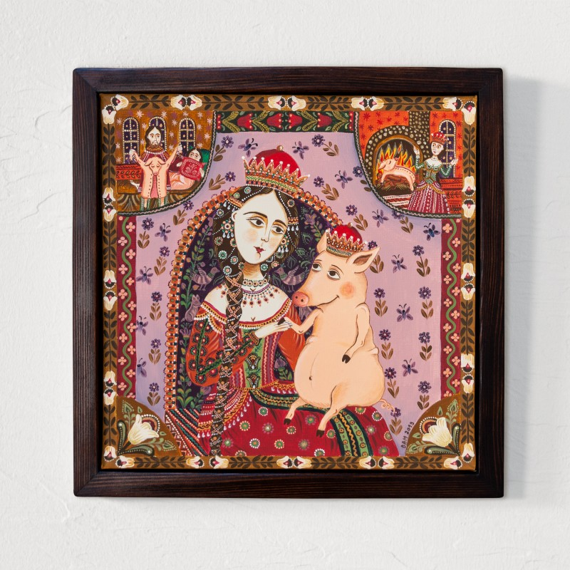 """Canvas painting, """"A Pig's Tale"""", 30x30 cm, wooden frame"""