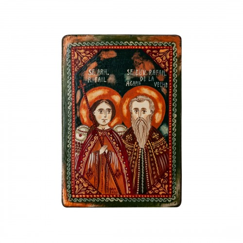 """Wood icon, """"St. Raphael the Archangel and St. Raphael from Agapia Veche"""", miniature, 7x10cm"""