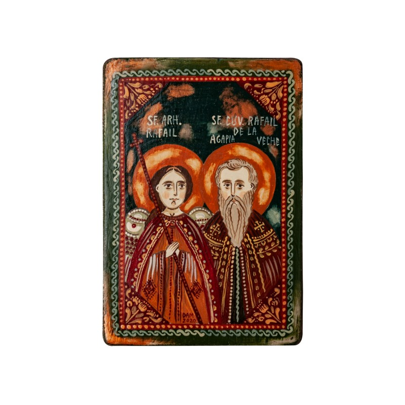 "Wood icon, ""St. Raphael the Archangel and St. Raphael from Agapia Veche"", miniature, 7x10cm"