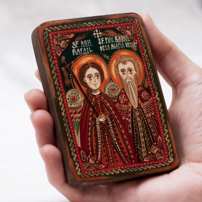 """Icoană pe lemn """"Sf. Arh. Rafail și Sf. Cuv. Rafail de la Agapia Veche"""", miniatură, 7x10 cm"""