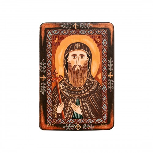 """Icoană pe lemn """"Sfântul Cuvios Ioan de la Prislop"""", miniatură, 7x10 cm"""