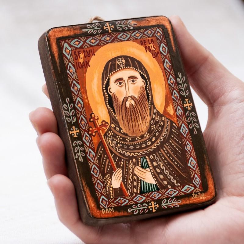 "Wood icon, ""Saint John from Prislop"", miniature, 7x10cm"
